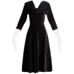 1940s Vintage Black Velvet Cocktail Dress with Collar + 3/4 Cropped Sleeves