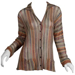 1970s Missoni Vintage Sheer Striped Knit/ Crochet Cardigan Sweater Jacket