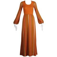 1970s Joseph Magnin Vintage Orange Pink + Green Wool Knit Sweater Maxi Dress