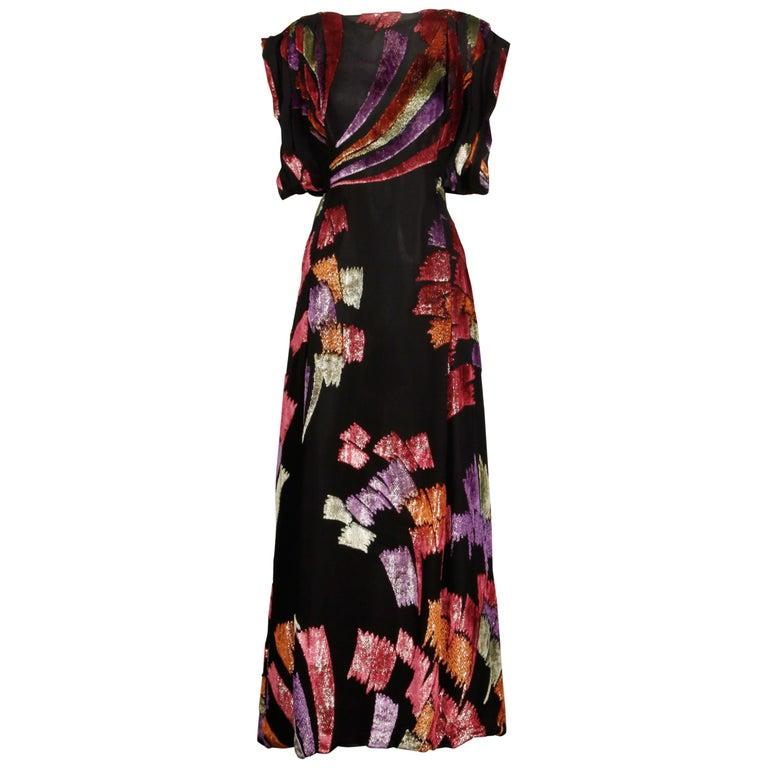 Museum Quality 1970s Pauline Trigere Vintage Black Silk Evening Gown/ Dress For Sale