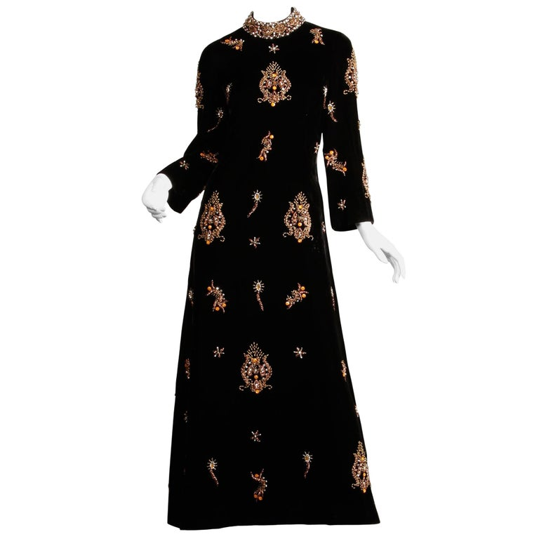 1960s Vintage Black Velvet Evening Gown Dress with Metallic Beaded Embellishment For Sale