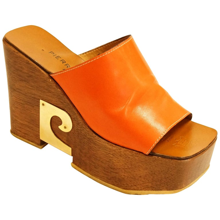 Rare 1970s Pierre Cardin Orange Leather and Wood Platform Mules, Iconic  For Sale