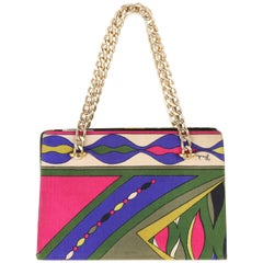 EMILIO PUCCI c.1960's Signature Abstract Print Silk Chain Handle Kiss Lock Purse