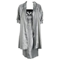 1950's Lilli Diamond Metallic Silver Lamé Beaded Strapless Dress & Swing Jacket