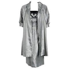 1950's Lilli Diamond Metallic Silver Lamé Beaded Strapless Dress & Swing Jacket