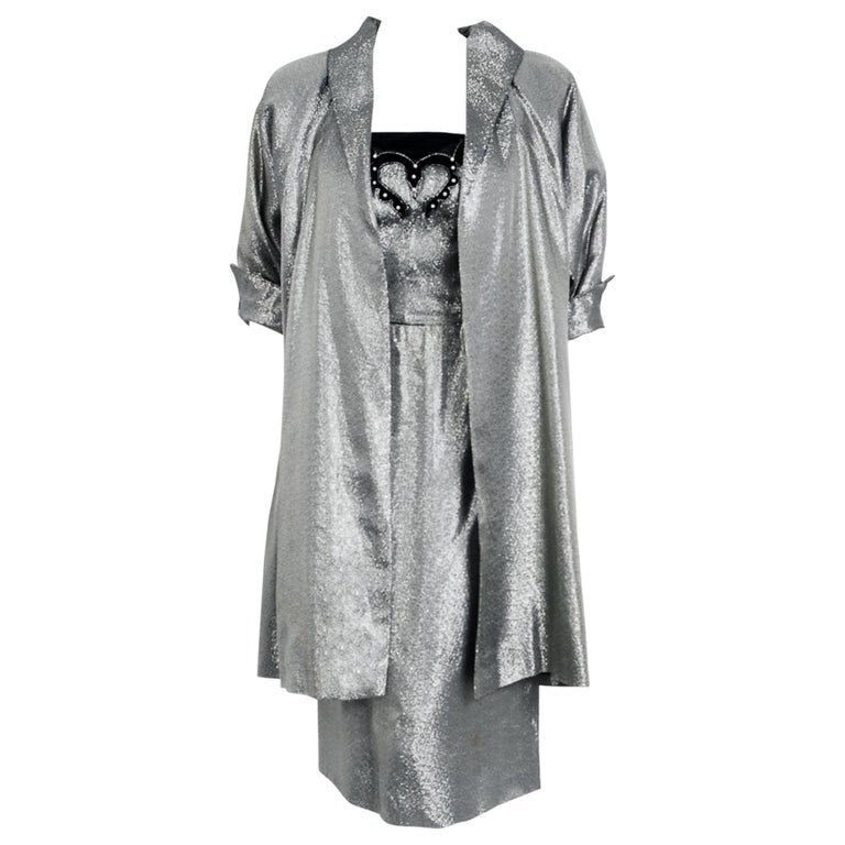 1950's Lilli Diamond Metallic Silver Lamé Beaded Strapless Dress & Swing Jacket For Sale