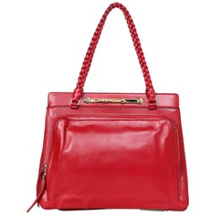 Valentino Red Leather Demetra Tote Bag W/ Braided Straps & Dust Bag