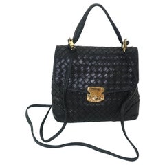 Bottega Veneta Black Intrecciato Leather Shoulder Handbag