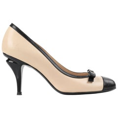 CHANEL Nude & Black Leather Classic Bow Cap Toe Sculptural Heel Pumps