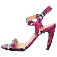 Sergio Rossi Hot Pink Python Sandals W/ Black/White Stripe Sz 37.5