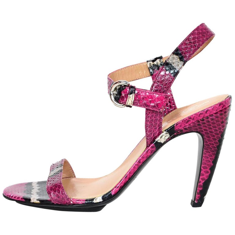 0ea5526fa5a Sergio Rossi Hot Pink Python Sandals W  Black White Stripe Sz 37.5 For Sale