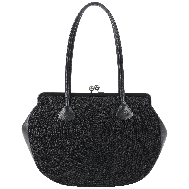 CHANEL c.1990's Black Woven Leather Kiss Lock Shoulder Bag Purse