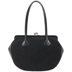 CHANEL c.1990's Black Woven Leather Kiss Lock Shoulder Bag Purse