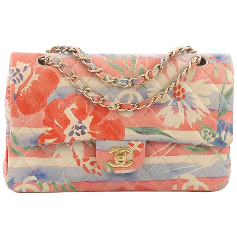 c8c6c749eb69 Chanel Classic Double Flap Bag Tropical Flower Print Quilted Lambskin Medium  For Sale