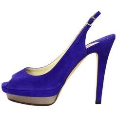 Jimmy Choo Purple Suede Open Toe Slingback Platform Shoes Sz 35.5