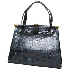 Black Gloss Geometric Alligator Handbag with Coin Purse, 1960s