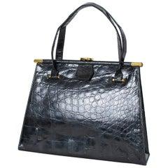 Black Gloss Geometric Alligator Handbag with Coin Purse, 1960s