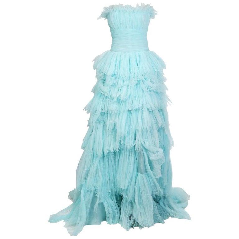 Oscar de La Renta Strapless Gown of Tiered Aqua Blue Tulle For Sale