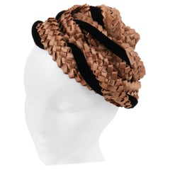 BES-BEN c.1940s Copper Brown Braided Straw & Black Silk Velvet Evening Capulet