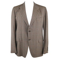 PRADA 46 Brown Plaid Wool Blend Sport Coat