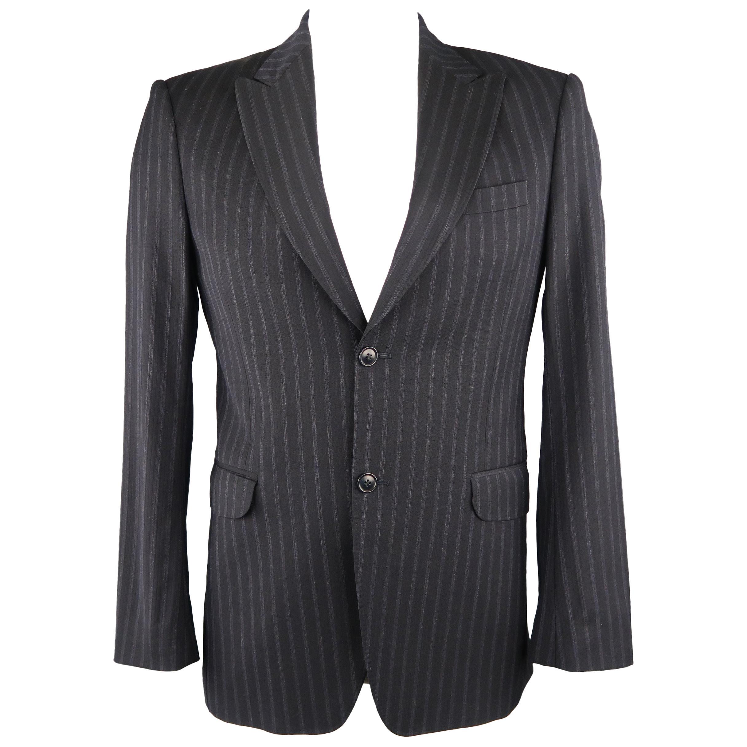 207d0f22 KENZO 38 Black Stripe Wool Sport Coat For Sale at 1stdibs
