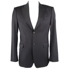 KENZO 38 Black Stripe Wool Sport Coat