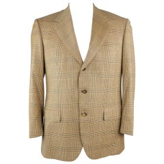 BRIONI 40 Regular Gold & Navy Plaid Wool Sport Coat