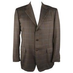 CANALI 44 Regular Brown Window Pane Wool Sport Coat
