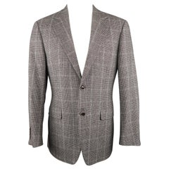 CANALI 40 Regular Grey & Black Glenplaid Wool / Cotton Sport Coat