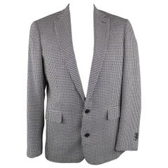 ADAM KIMMEL 42 Regular Navy & White Houndstooth Wool / Linen Sport Coat