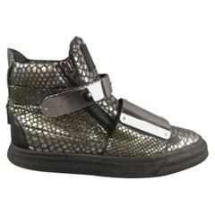 GIUSEPPE ZANOTTI Size 10 Silver Snake Print Metal Plate FARAONE Sneakers