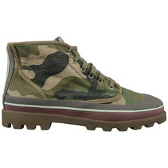 VALENTINO Size 9 Green Camouflage Canvas Striped Rubber High Top Sneakers