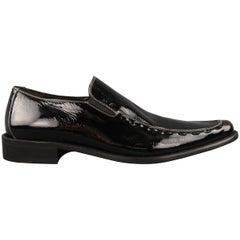 DONALD J PLINER Size 10 Black Contrast Stitch Patent Leather Whipstitch Loafers