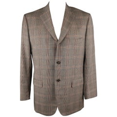 ISAIA 46 Long Brown Plaid Wool Sport Coat