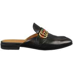 GUCCI Size 9.5 Black Striped Trim Princetown Double Gold G Loafers