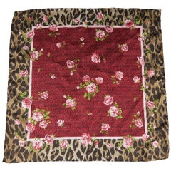 DOLCE & GABBANA Burgundy & Animal Print Floral Logo Silk Scarf