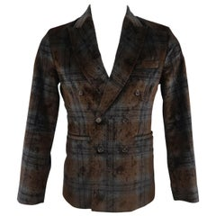 ANTONIO MARRAS 34 Short Double Breasted Black & Brown Plaid Velvet Sport Coat