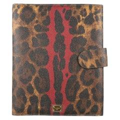 DOLCE & GABBANA Tan & Burgundy Coated Leopard Print Canvas Tablet Case