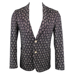 MESSAGERIE 36 Short Black & Grey Print Cotton Blend Sport Coat