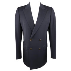 BRIONI 38 Navy Double Breasted Wool Blazer Sport Coat