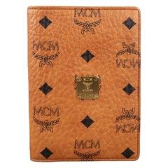 MCM Tan Monogram Logo Leather Passport Holder Wallet