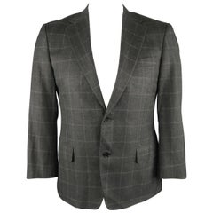 CANALI 38 Charcoal Window Pane Silk Blend Blazer / Sport Coat