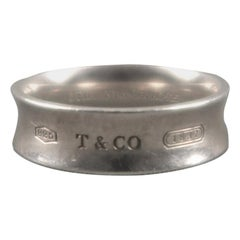 TIFFANY & CO. Size 10 Sterling Silver 1937 Embossed Band Ring