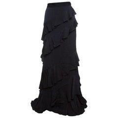 Alexander McQueen Black Vintage Crepe Ruffled Maxi Skirt L