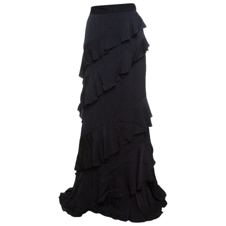 7565ee778a Alexander McQueen Black Vintage Crepe Ruffled Maxi Skirt L For Sale ...