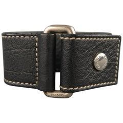 PRADA Black Leather Contrast Stitch Snap Cuff