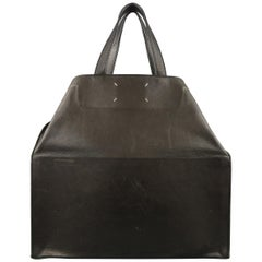 MAISON MARTIN MARGIELA Black Leather Icons Shopper / Clutch Tote Bag