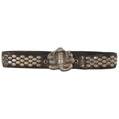 Vintage INSTYLE 1979 Size 32 Black Studded Leather Cobra Buckle Belt