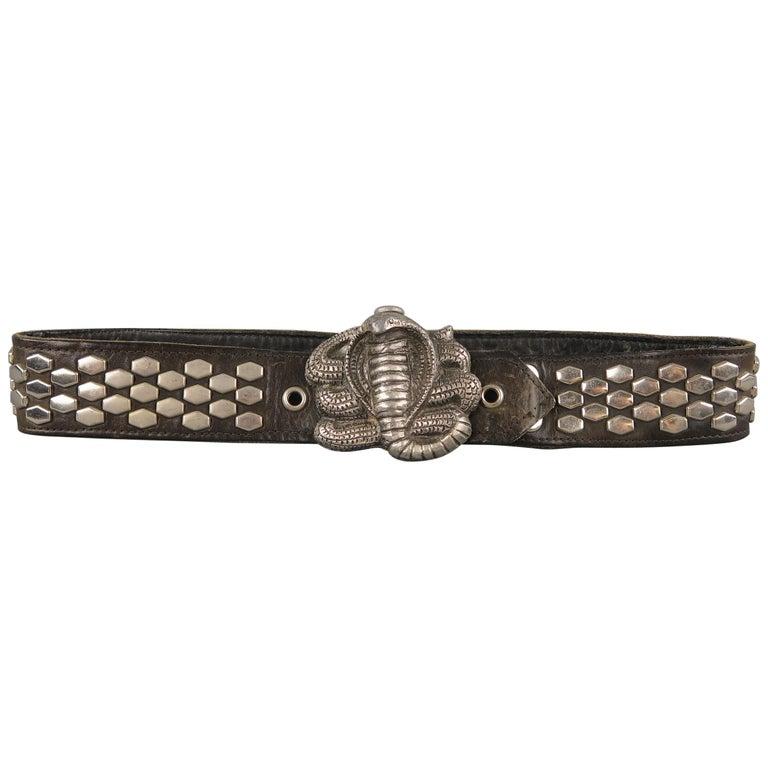 a5a1ca243dcb9 Vintage INSTYLE 1979 Size 32 Black Studded Leather Cobra Buckle Belt at  1stdibs