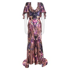 Alexander McQueen Floral Butterfly Printed Silk Cape Back Detail Evening Gown S